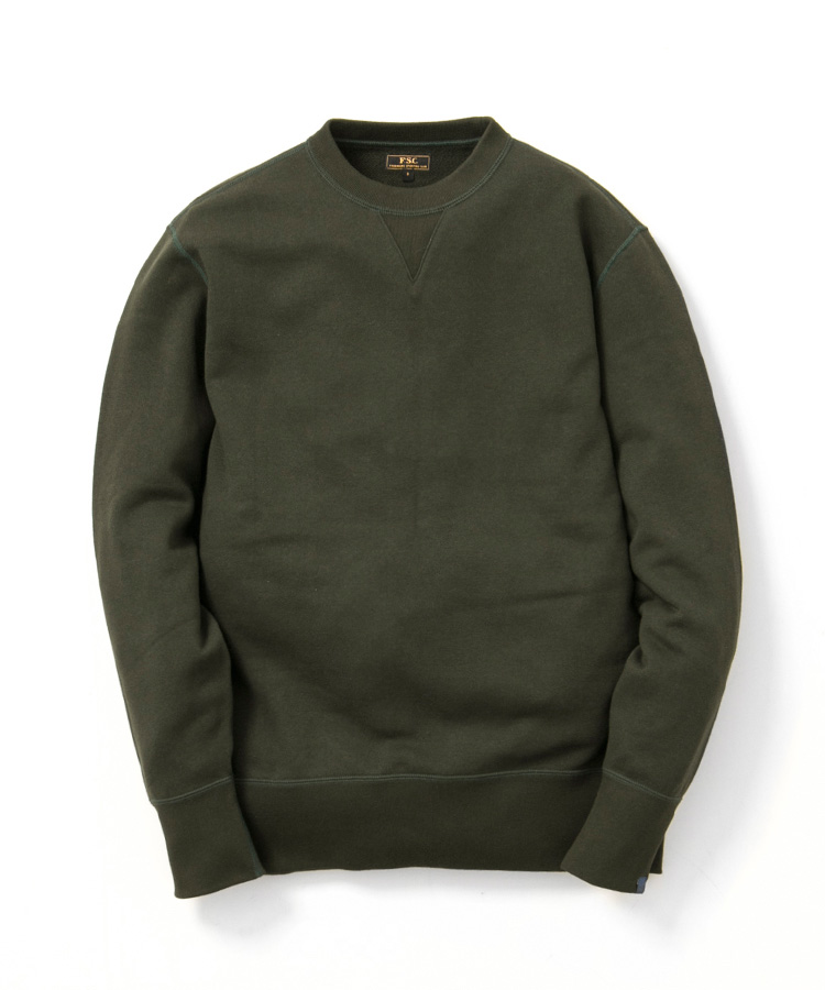 FREEMANS SPORTING CLUB × LOOPWHEELER CREW NECK SWEAT KHAKI