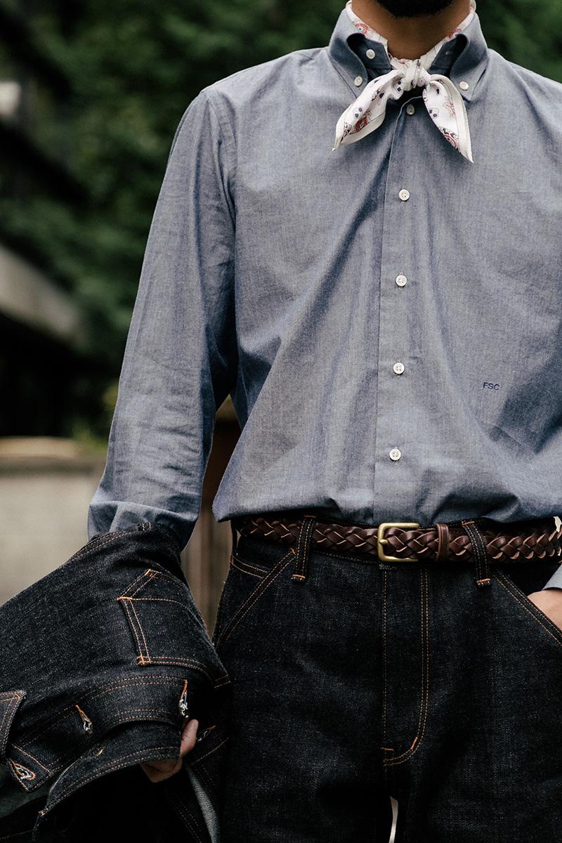 パターンオーダーシャツ シャンブレー生地 カジュアル